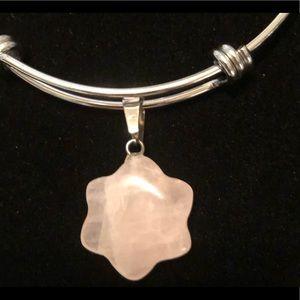 Jewelry - NWT Galilea Rose Quartz on Silver Bangle.
